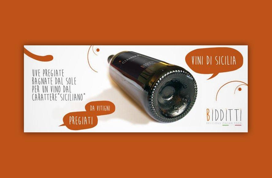 Progerttazione advertising per Bidditti azienda vini siciliani Trapani Sicilia Italia