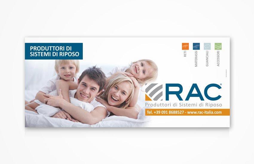 Progettazione grafica Advertising Campagna pubblicitaria istituzionale RAC azienda produttrice di sistemi di riposo materassi reti guanciali Palermo Italia Sicilia