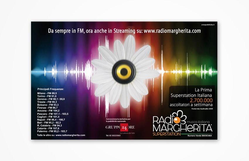 Progettazione grafica Advertising Campagna istituzionale annunci su giornali, blog e affissioni Radio Margherita Palermo emittente locale Palermo Italia Sicilia