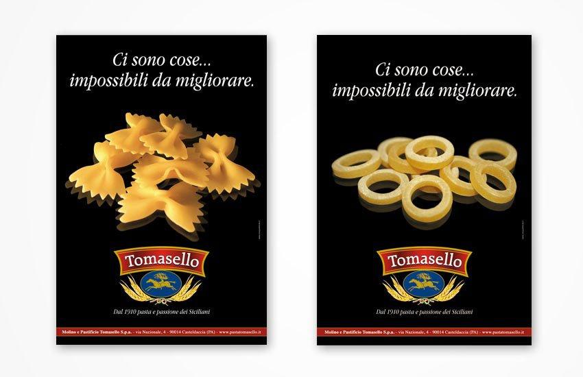 Progettazione grafica advertising campagna pubblicitaria istituzionale per il Pastificio Tomasello Palermo Italia Sicilia