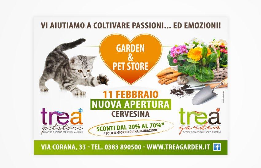 Progettazione grafica advertising campagna pubblicitaria Inaugurazione punto vendita TreA garden & Pet store Cervesina Pavia Italia