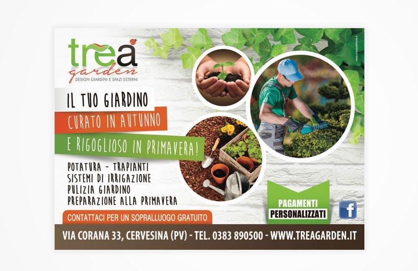 Progettazione grafica advertising campagna pubblicitaria promozione servizi giardinaggio potatura progettazione perTreA garden Cervesina Pavia Italia