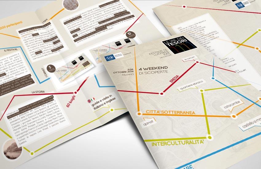 Progettazione folder due ante per il festival evento Le Vie dei Tesori 2014 Palermo Sicilia Italia