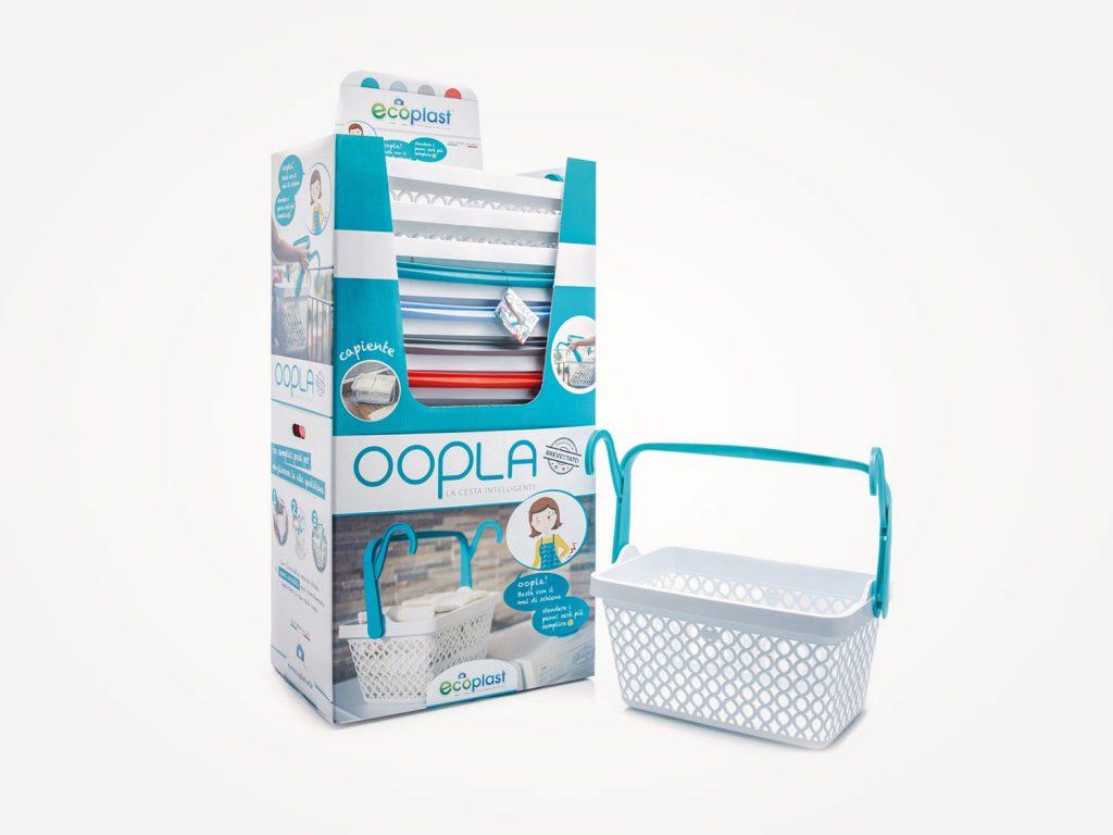 Progettazione grafica palbox espositore prodotti per ceste biancheria oopla per conto di Ecoplast azienda produttrice di articoli per la pulizia in plastica