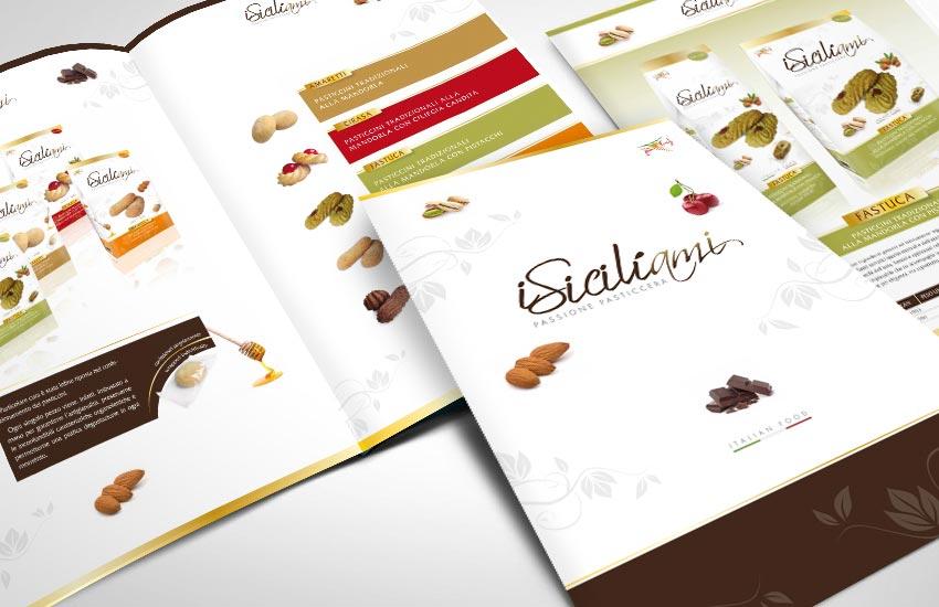 Progettazione grafica company profile e Catalogo prodotti per l'azienda ISiciliami produzione biscotti alle mandorle tipici siciliani Agrigento Sicilia Italia