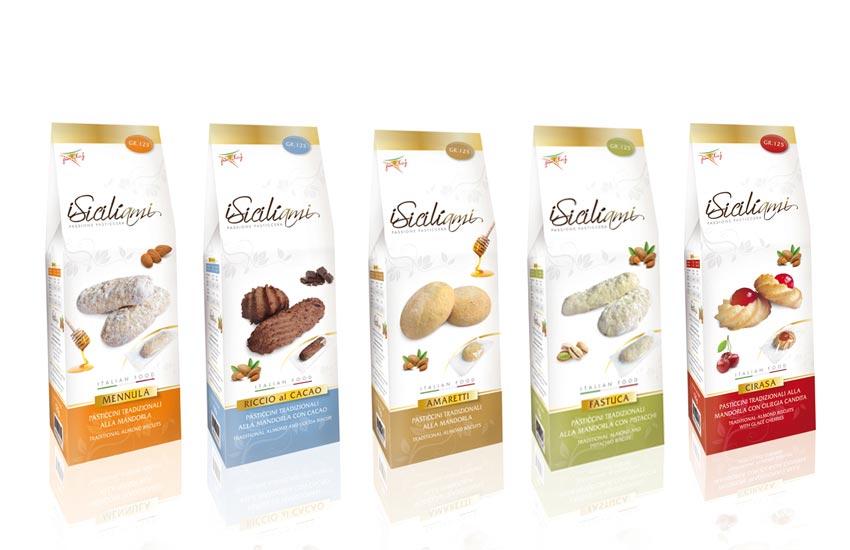 Progettazione grafica packaging per Linea di biscotti in pasta di mandorle artigianali per conto di Siciliami azienda pasticciera Agrigento Sicilia