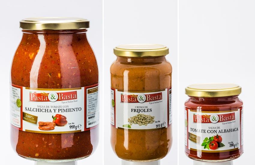 Progettazione grafica etichette labeling per barattoli in vetro salse pronte e sughi italiani per il mercato messicano per il brand pasta&basta
