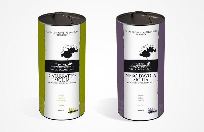 Progettazione packaging cartone per vino Bag in tube per Scaminaci azienda vitivinicola siciliana Trapani Sicilia Italia