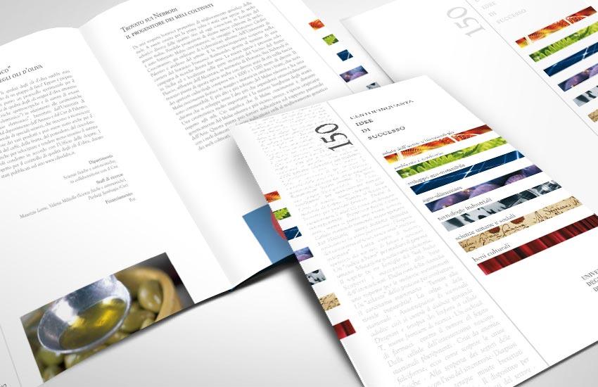Progettazione grafica in due lingue per il libro commemorativo 150 idee di successo per UNIPA Università di Palermo Sicilia Italia