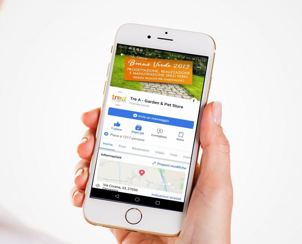 Gestione Pagina Social facebook per la promozione del brand e dei servizi TreA garden Cervesina Pavia Italia