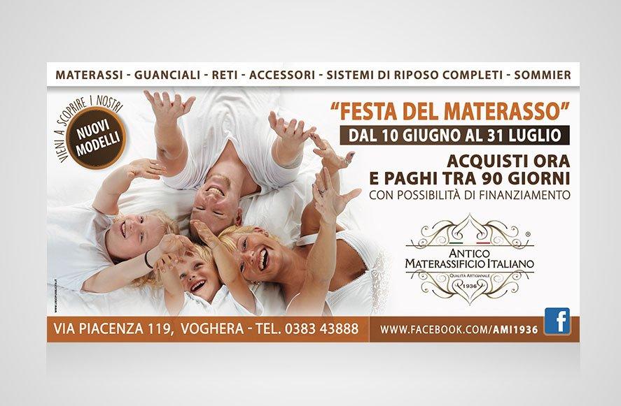 """ideazione e progettazione grafica campagna pubblicitaria in affissione """"Festa del materasso"""" per Antico Materassificio Italiano produzione sistemi di riposo Italia"""