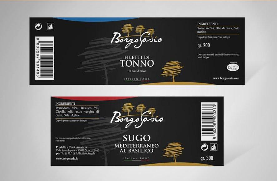 Progettazione grafica etichette per conserve e tonno sott'olio prodotti in sicilia azienda Borgo Sosio trapani Sicilia Palermo