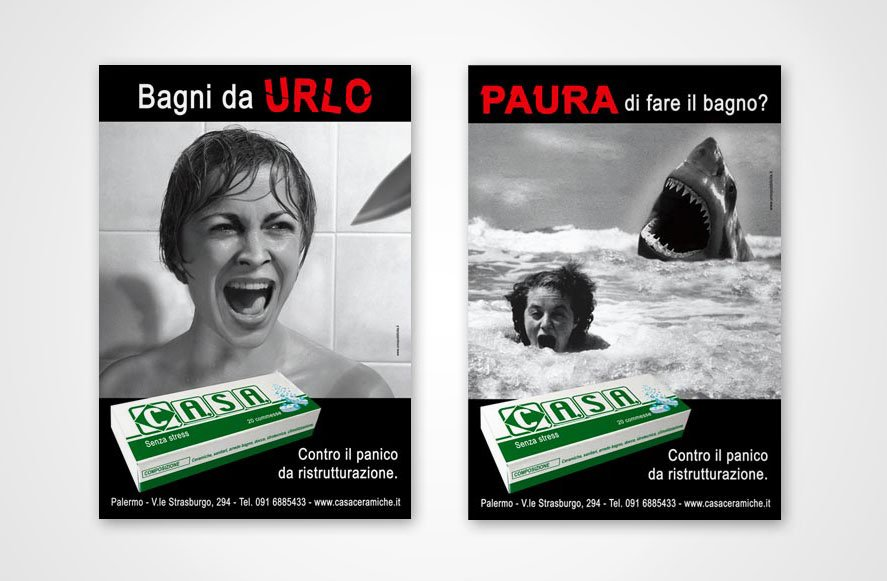 Progettazione campagna pubblicitaria advertising Bagni da urlo per Casa ceramiche vendita materiali e articoli per ristrutturazione palermo sicilia italia