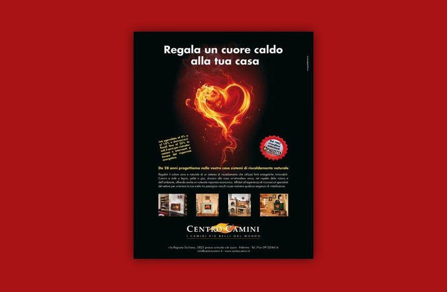 Progettazione grafica per campagna pubblicitaria vendita camini e sistemi di riscaldamento per Centro Camini Palermo Sicilia Italia