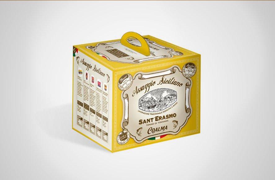 Progettazione grafica di packaging multipack per Coalma azienda di inscatolamento prodotti ittici sicilia italia