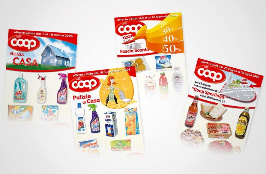 Progettazione e realizzazione illustrazioni, copertine e impaginazione depliant promozionali prodotti per punti vendita coop 25 aprile palermo sicilia