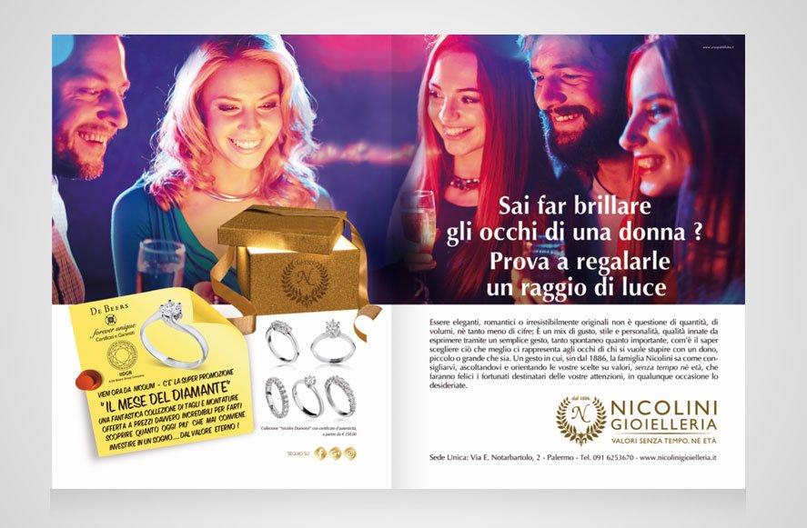 """ideazione e progettazione grafica campagna pubblicitaria """"Mese del Diamante"""" su riviste, quotidiani e blog per Gioielleria Nicolini Palermo Sicilia Italia"""
