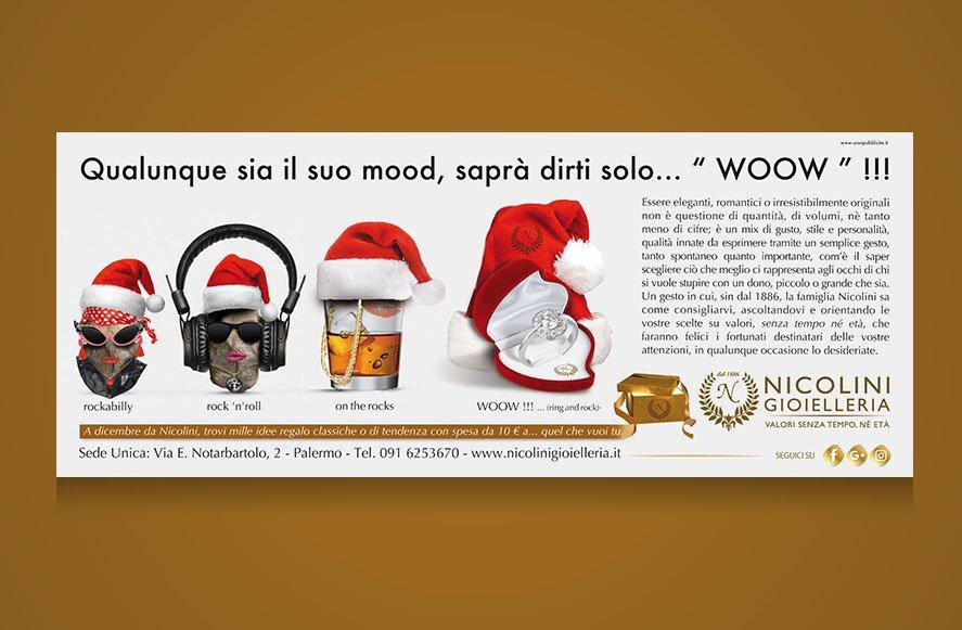 ideazione e progettazione grafica campagna pubblicitaria periodo natalizio su riviste quotidiani blog per Gioielleria Nicolini Palermo Sicilia Italia
