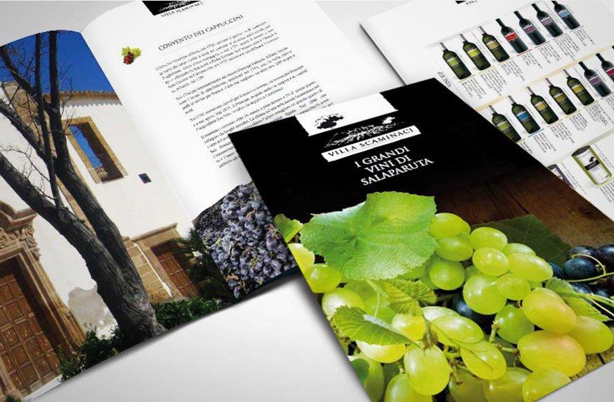 Progettazione grafica Company profile e catalogo prodotti per Villa Scaminaci azienda vini siciliani Sicilia Italia