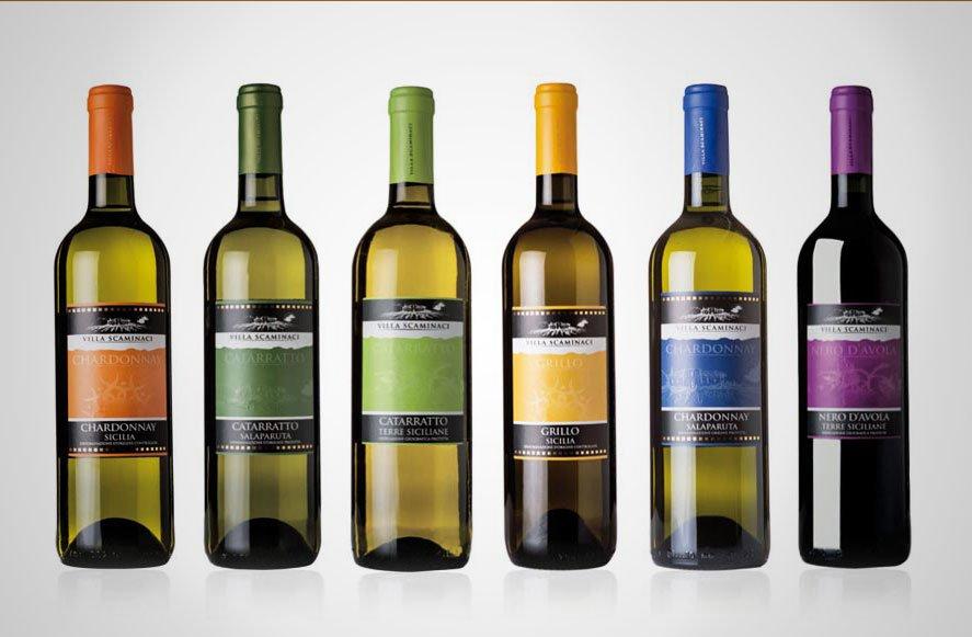 Progettazione grafica etichette labeling vini per Villa Scaminaci azienda vini siciliani Sicilia Italia
