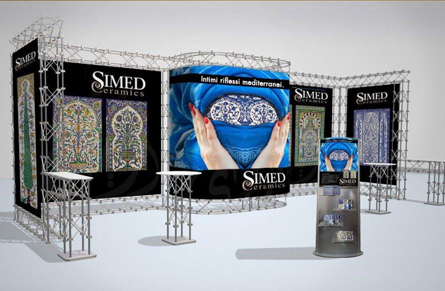 Progettazione grafica per stand fieristico per Simed azienda produttrice di ceramiche e arredo Sicilia Italia