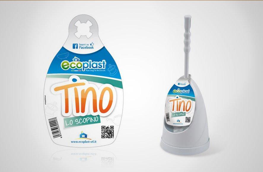 Ideazione di naming le progettazione di logo ed etichetta per scopino prodotto dall'azienda ecoplast gela sicilia italia