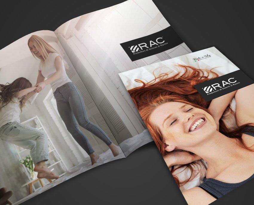 Progettazione grafica company profile e catalogo prodotti RAC Italia sistemi di riposo di alta qualita letti reti materassi Palermo Sicilia Italia