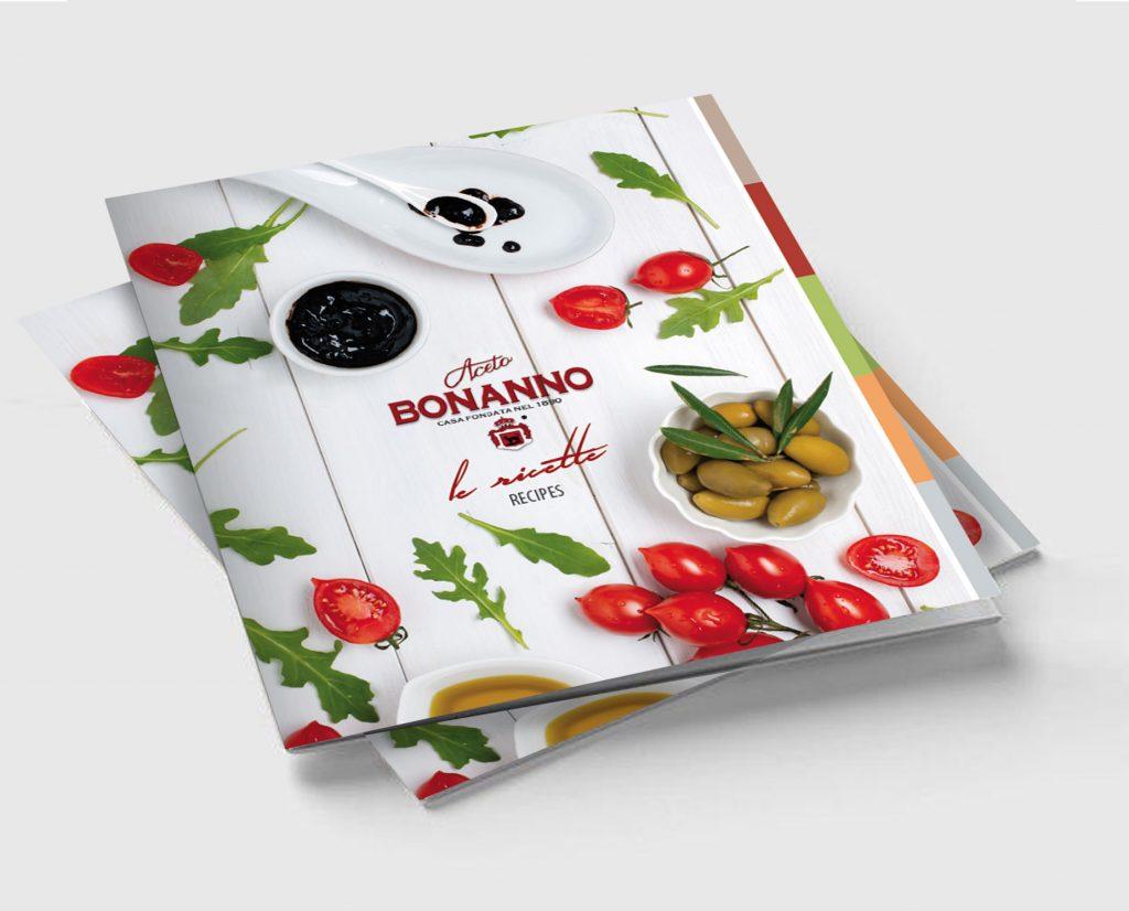 Progettazione grafica ricettario cucina siciliana per promozione prodotti Aceto Bonanno Palermo Sicilia Italia