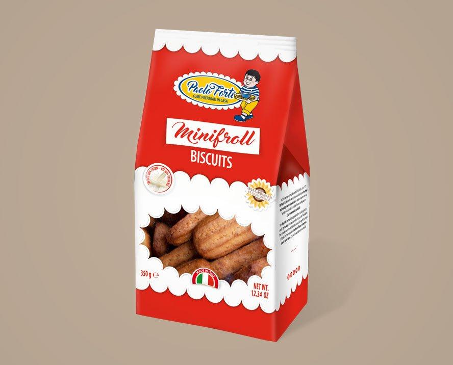 progettazione grafica packaging busta con finestra biscotti forti castelbuono sicilia minifroll
