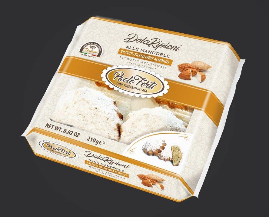 realizzazione grafica packaging biscotti ripieni alle mandorle tipici siciliani italia fortii